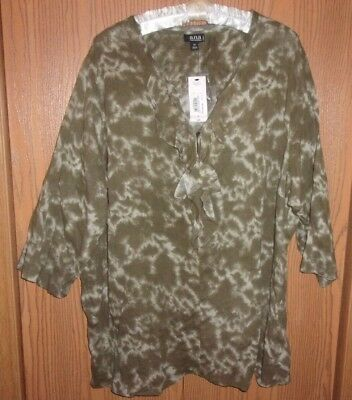 95fae9c8928 NEW! A.N.A. ~ WOMEN S PLUS SIZE 1X ~ 3 4 SLEEVE WOVEN RUFFLE BLOUSE ...