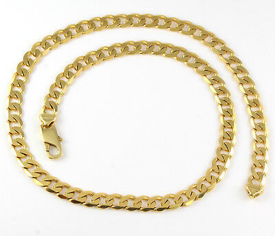 Vintage Heavy Solid 9Ct Gold Flat Curb Link Chain Necklace 22'', 52.3g