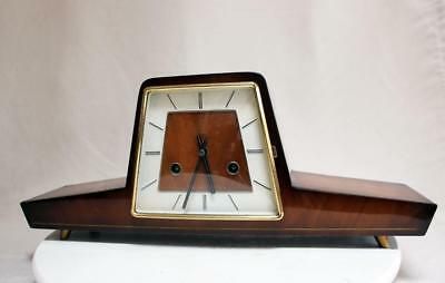 BEAUTIFUL VINTAGE GLOSSY TABLE CLOCK Two Tone HERMLE MOVEMENT SHINY