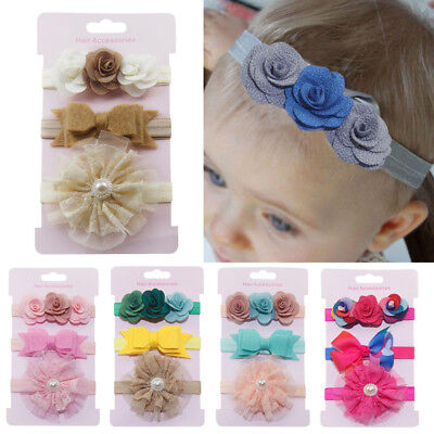 Pretty 3Pcs Kids Floral Headband Hair Newborn baby Girls Bowknot Hairband Set US