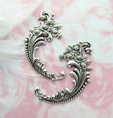 ANTIQUE SILVER (2 Pieces) Flower Flourish Stamping ~ Jewelry Finding (E-451)