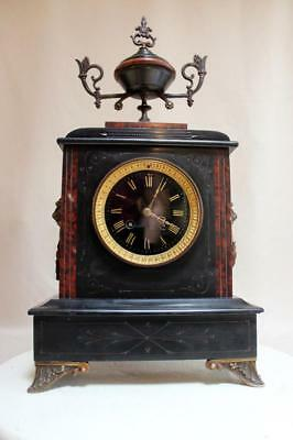 Antique 1880 French  Black Marble Clock  Heavy