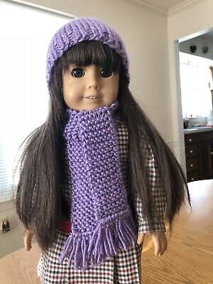 Light Purple Hand Knitted Hat And Scarf Set For American Girl Or Any 18 In. Doll