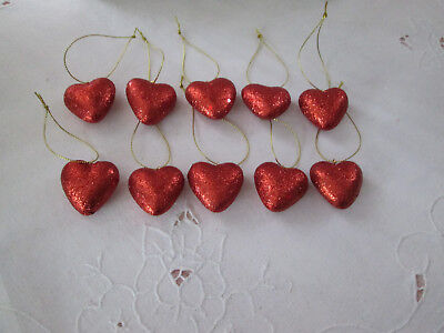 """Pkg of 10- Small 1-1/4"""" Red Glitter Heart Valentines Day Ornaments,  NEW"""