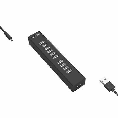 ORICO 10 Port USB 2.0 Hub Powered USB DC Data Cable Adapter for Laptop + Mac PC