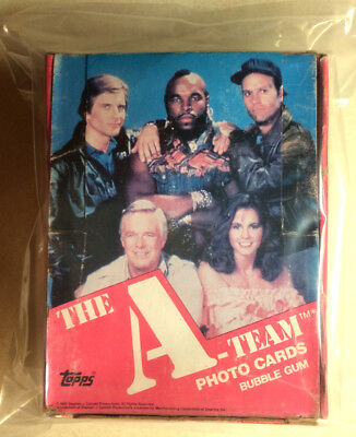 A-Team Topps Box (Empty) + 2 Sealed Packs (1982) (with our sealed baggies)