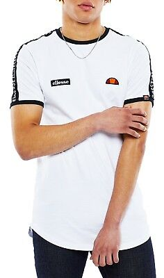 ellesse Classic Fede Tape Crew Neck T-Shirt Retro Sports Top Casual Tee White