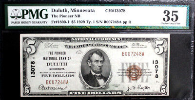1929 $5 Pioneer National Bank Note Duluth Minnesota Pmg 35 Choice Very Fine