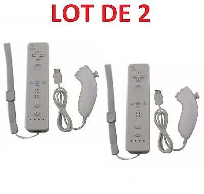 2 X Remote control Wiimote + Nunchuck for Nintendo Wii and wii U