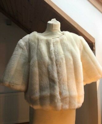 Monsoon Cream Faux Fur Shrug Wedding