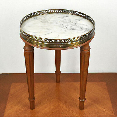 Vintage Small Round Marble Top Br And Wood Plant Stand