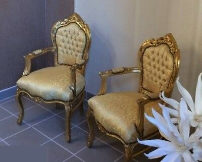 2X Baroque armchairs gold castle furniture sofa bench