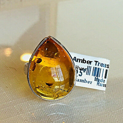 Russian 100% Genuine Baltic Amber Ring Vintage Butterscotch Egg Yolk Polish 老琥珀