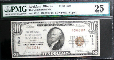 1929 $10 ROCKFORD, IL National Bank Note, COMMERCIAL NB, PMG 25 VERY FINE 11679