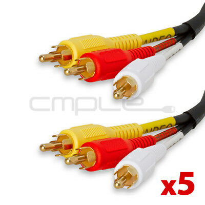 5x 3 RCA 6 Ft Audio Video AV Cable For HDTV DVD VCR Gold Plated