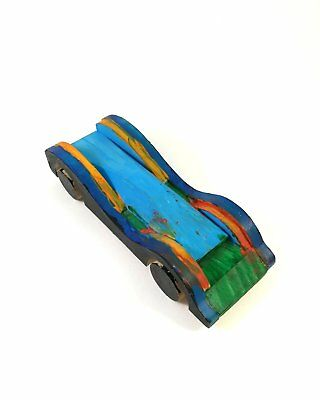 Nice Vintage Style Small Handmade Race Car Wood Artwork Wooden Toy Rare 6.14''