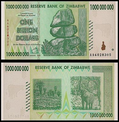 Zimbabwe 1 Billion Dollars 2008 Banknote UNC AA+ (Zm1B)
