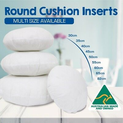 ROUND Cushion Insert Aust Made Polyester Premium Lofty Fibre Multi Sizes