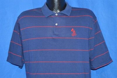vintage 80s DISNEY MICKEY MOUSE MENS BLUE RED STRIPED GOLF TENNIS POLO SHIRT L