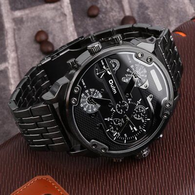 Oulm Men's 2 Movement Big Dial Stainless Steel Strap Sports Wrist Watch 3548 L5