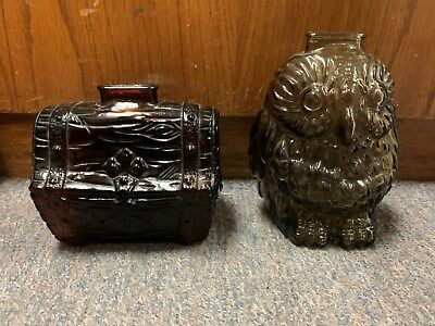 Anchor Hocking Pirate Treasure Chest Bank & Libby Glass Wise Owl Bank L@@K