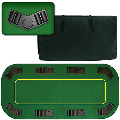80 in. Folding Poker Table Top 8 Player Game Carrying Bag Removable Tray Wood