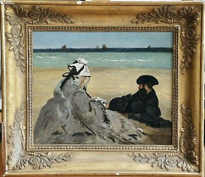 19th CENTURY FRENCH IMPRESSIONIST OIL SKETCH PANEL - AFTER MANET - FIGURES BEACH