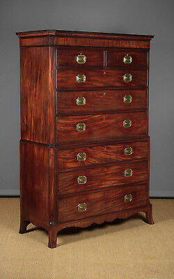 Antique Georgian Mahogany Chest on Chest c.1800.