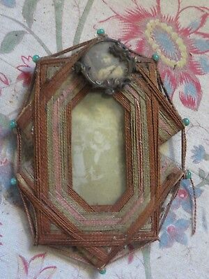 DELIGHTFUL PETITE ANTIQUE FRENCH HAND WORKED FRAME & PHOTOGRAPHS ~ 1800's