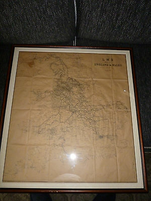 LMS map of England & Wales Railway Steam Railway Bartholomew Original and Framed