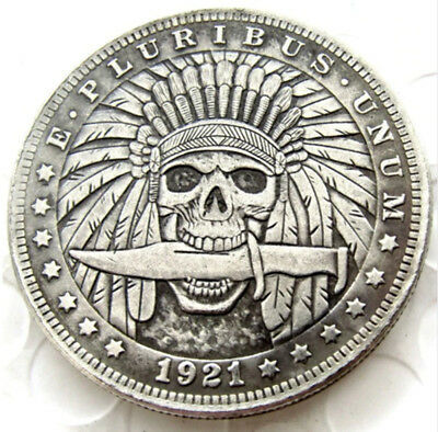 1921 Hobo Morgan Dollar. Indian Head With Knife