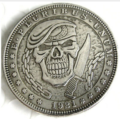 1921 Hobo Morgan Dollar. Skull With Knife