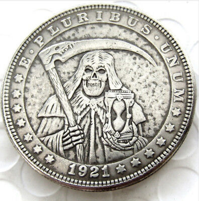 1921 Hobo Morgan Dollar. Grim Reaper