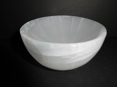 Selenite Crystal Heavy Carved Polished Bowl 87mm Dia For Charging Crystals
