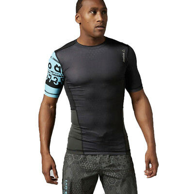 Men's Clothing Reebok Mens Compression Base Layer Shirt Crossfit Black Sage Graphic Sports Top Outstanding Features