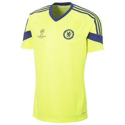 Chelsea FC Football Shirt Mens Yellow Blue Training Jersey 2014-15 Large