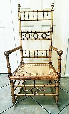 Faux Bamboo Rocking Chair ~ R.J.Horner 19th Century spindle design ~ Rare Find!