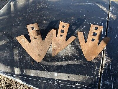 3 Vintage Plow Points Cultivator Parts Old Rusty Rustic Steampunk Primitive