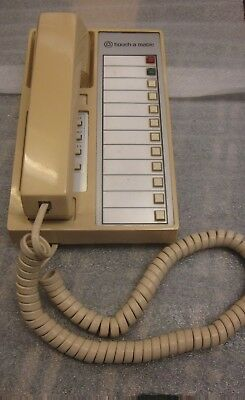 """Western Electric 12 Button Cream Colored """"Touch-A-Matic""""Desk Telephone."""