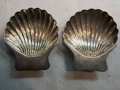 Vintage Pair Mexican Sterling Silver SHELL SALT CELLARS dish Taxco Tasco