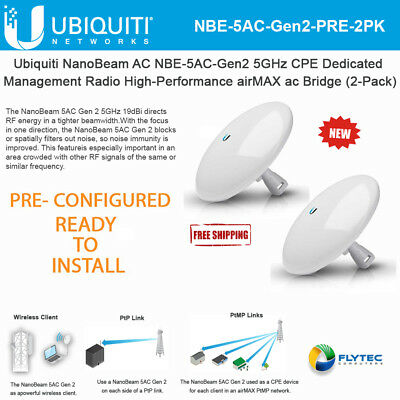 UBIQUITI NANOBEAM AC Gen2 NBE-5AC-GEN2 US 450 Mbit/s Wireless Bridge  (2-Pack)