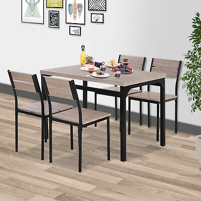 5pcs Wooden Bar Dining Set Kitchen Table Chair Set for 4