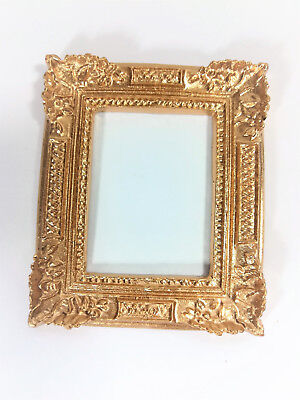 Large Rectangle Gold UMLP1  dollhouse miniatures 1//12 scale Picture Frame