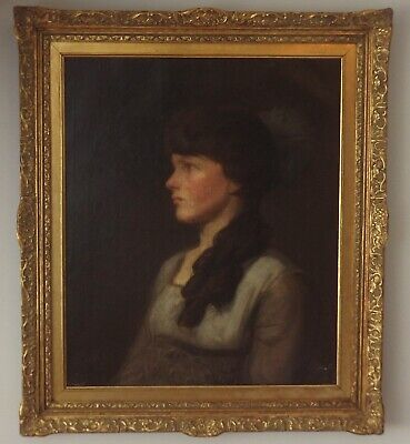 Large Portrait of Young Woman. Style John Singer Sargent c1900. Oil Painting