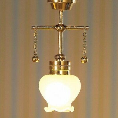 Dollhouse  Miniature Hanging Large Tulip Ceiling Light Electric 1:12 Scale 12v