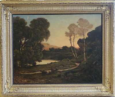 Henri Joseph Harpignies French Barbizon Sunset Landscape Oil Painting 1819-1916