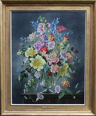 Cecil Kennedy British Floral Oil Painting Lilies Roses Exhibited Art 1905-1997