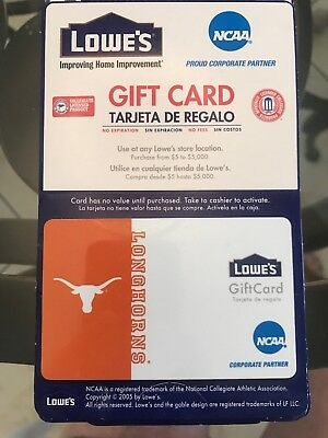Lowes Gift Card NCAA TEXAS LONGHORNS COLLECTOR CARD. NO VALUE