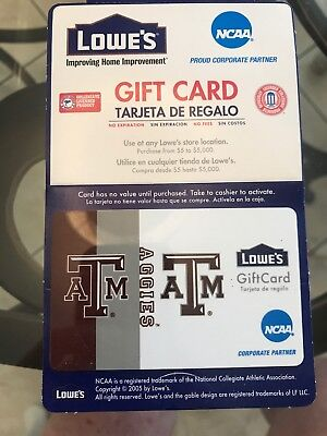 Lowes Gift Card NCAA TEXAS A & M COLLECTOR CARD. 0 Balance (can Reload)