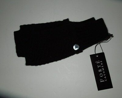 NWT Forte Cashmere Black Fingerless Gloves w MOP Buttons OS SOFT